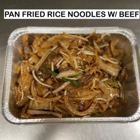 pan fried rice noodles w/ beef